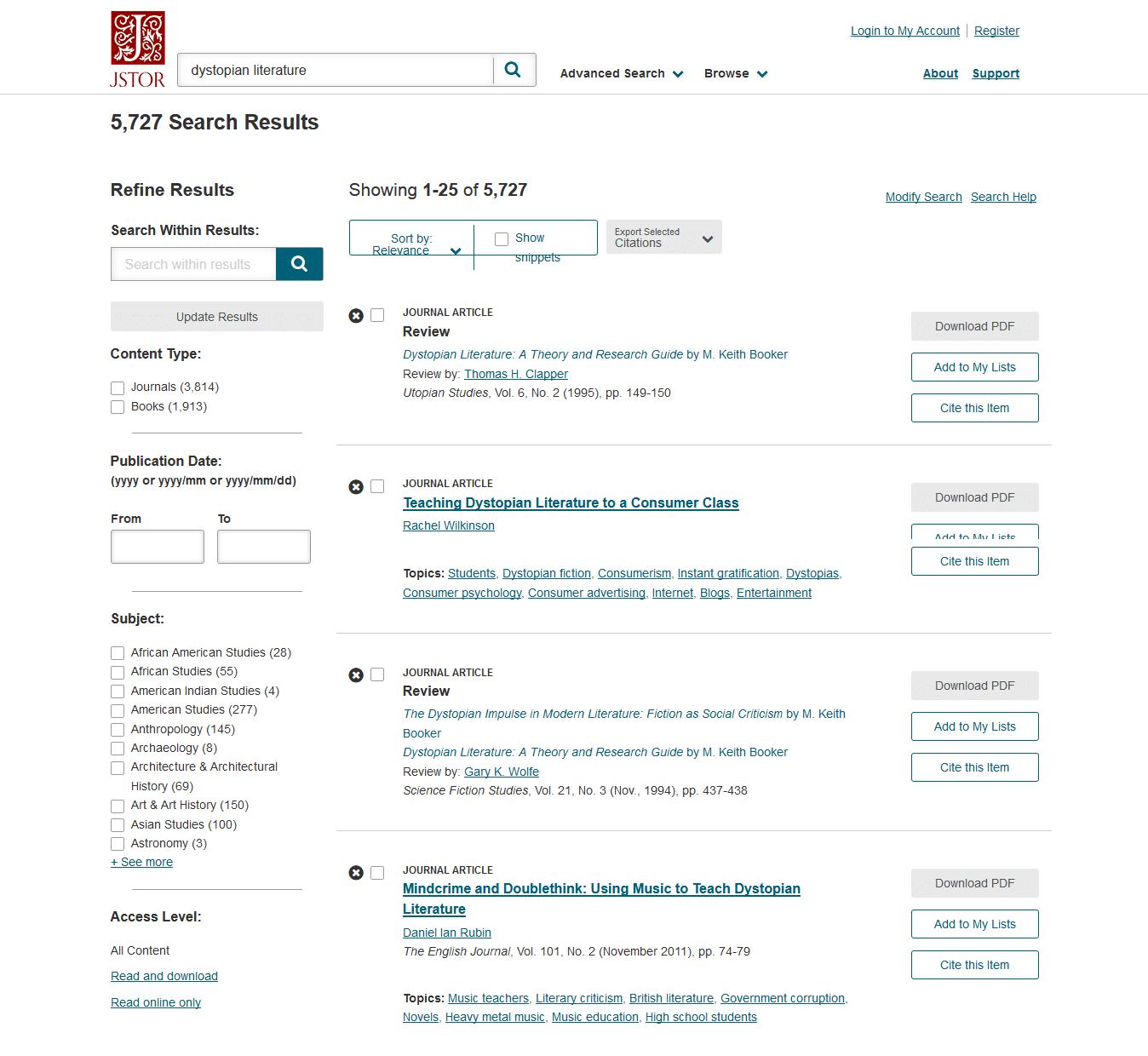 JSTOR Suchergebnisse