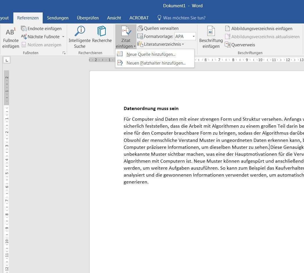 Literaturverzeichnis in Word: Zitat einfügen