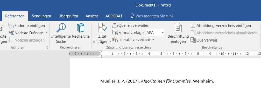 Literaturverzeichnis einfügen