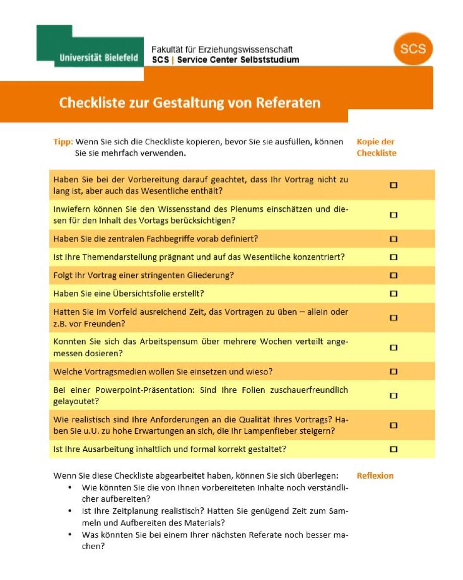 Checkliste der Universität Bielefeld