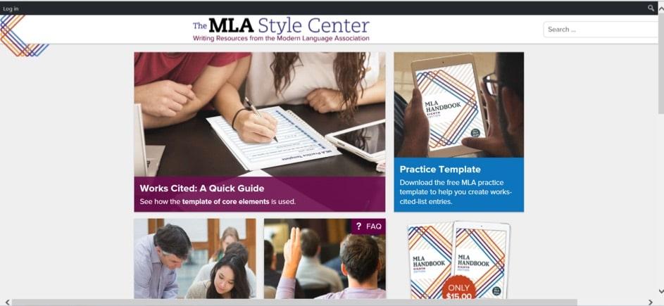 Die Webseite des MLA Style Centers