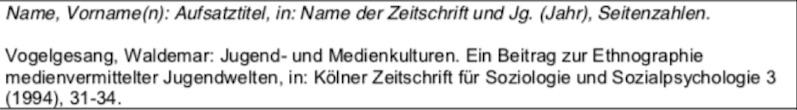 Zeitschriftenartikel nach der deutschen Zitierweise im Literaturverzeichnis