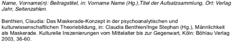 Anthologien nach der deutschen Zitierweise im Literaturverzeichnis